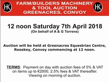 Farm/Builder's Machinery Auction, Greenacres, Convoy, Co. Donegal